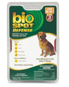 Bio Spot Defense Spot on Flea and Tick Dogs 56-80-Pound, 3-Month Supply >>> Awesome dog product. Click the image : Flea and Tick Control
