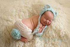 Bear bonnet and shorts.  Crochet photo prop. Image by Taryn Avery Photography, Colorado Springs newborn photographer.
