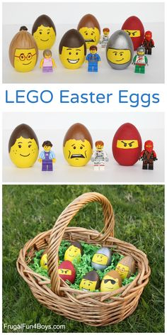 LEGO Minifigure Decorated Easter Eggs - fun Easter craft for kids eggs LEGO Minifigure Decorated Easter Eggs - Frugal Fun For Boys and Girls Bolo Lego, Easter Egg Designs, Diy Ostern, Easter Crafts For Kids, Bunny Crafts, Easter Eggs Kids, Easter Party, Easter Table, Easter Gift