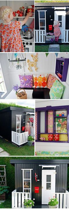 Amazing outdoor play house for little ones Playhouse Outdoor, Outdoor Play, Playhouse Ideas, Cubby Houses, Play Houses, Kids Cubbies, Wendy House, Kid Spaces, My New Room
