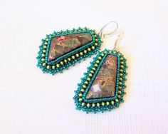 Beadwork Bead Embroidery Statement Dangle Drop Earrings  by lutita, $40.00