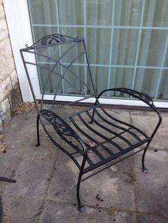 Early Salterini Rose Bud (flat feet) wrought iron 5 piece patio set w/ cushions in Antiques, Furniture, Tables | eBay