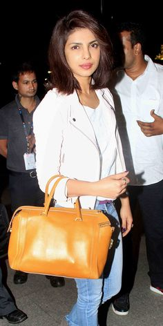 Priyanka Chopra at the Mumbai airport. #Bollywood #Fashion #Style #Beauty