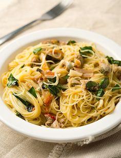 Classic Italian white clam sauce with linguine or, in this case, angel hair. Recipe from Hunter Angler Gardener Cook.