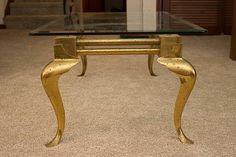 Mastercraft 1960s Brass Glass Top Coffee Table