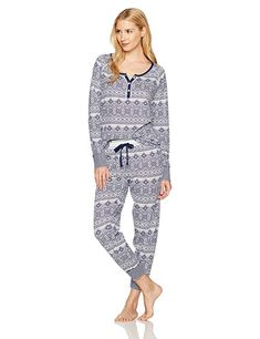 Amazon.com  Mae Women s Sleepwear Vintage Thermal Loose Fit Henley Pajama  Set  Clothing 409860951