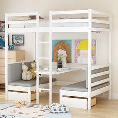 Lofted Dorm Beds, Twin Bunk Beds, Girl Loft Beds, Modern Bunk Beds, Loft Beds For Teens, Girls Bunk Beds, Bunk Beds For Kids, White Bunk Beds, White Desk Bed