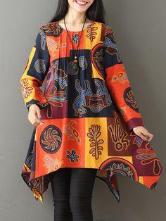 Women Ethnic Printed Long Sleeve Irregular Hem T-shirts