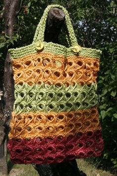 Crocheted in the round in Broomstick Lace. The handles are afghan stitch and attached with buttons...