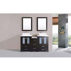 60 inch Newport Espresso Double Modern Bathroom Vanity with Side Cabinet and Vessel Sinks, Brown