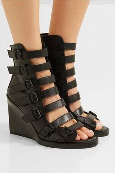 Ann Demeulemeester - Buckled Leather Wedge Sandals - Black - IT36.5