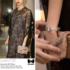 Seen at #JLCandAlexisMabille fashion show: the Grande #Joaillerie 101 Etrier #timepiece. Technical details: 18-carat White Gold, 46 diamonds, Hand-winding movement, Satin strap.