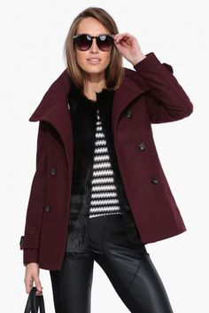 Nancy Drew Pea Coat in Burgundy | Necessary Clothing