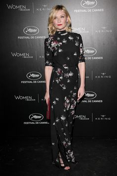 15 May Kirsten Dunst made an elegant entrance in a printed black gown.   - HarpersBAZAAR.co.uk