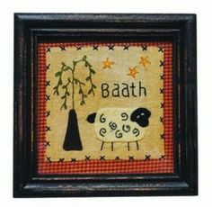 "Primitive Baath Embroidery Sheep Willow Tree Stars Framed Stitchery 7"" Sq"