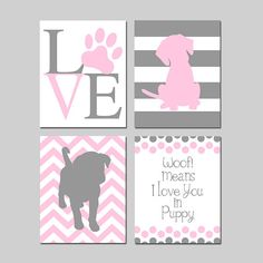 Puppy Nursery Art Baby Girl Nursery Art Puppy Nursery Decor Pink and Grey Nursery Art Dog Nursery Art Set of 4 Prints - CHOOSE YOUR COLORS This darling puppy themed print set is one of my original designs. It features four prints: LOVE Paw Print, Striped Puppy, Chevron Puppy, and Woof Means I Love You in Puppy quote. Perfect for your little ones nursery! Customize in the colors of your choice. This set is shown in four different versions of Light Pink and Gray (shown in order # 1 - 4), but…