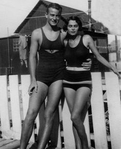 John Wayne and his wife Josephine Saenz (1933–45). They look like they almost have the same bathing suits on. I'm not sure if that's a good thing or bad thing.