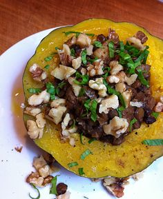 Lentil-stuffed acorn squash (via G.A. Walters at Pen & Fork). Really tasty--only thing I might change is to next time scoop out the squash after cooking, fold in with the lentil mixture, and then re-stuff the hollowed out shells.