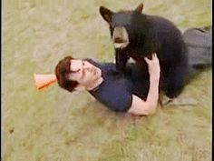 Michael Fassbender playing with a bear!