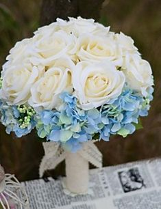 Wedding+Flowers+Round+Roses+Bouquets+Wedding+Party/+Evening+...+–+USD+$+28.99