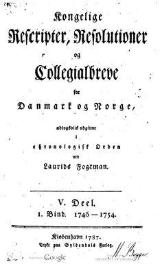 Dette bind indeholder 1754-reskriptet om Farøs overførsel til Bogø.