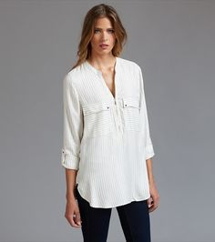 Striped Front Zip Blouse
