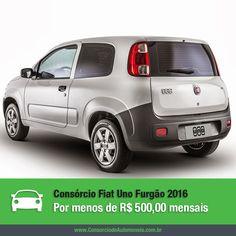 Aproveite o consórcio para programar a compra do Fiat Uno Furgão 2016, que já vai chegar às concessionárias. Saiba mais: https://www.consorciodeautomoveis.com.br/noticias/fiat-uno-furgao-2016-por-menos-de-r-500-mensais?idcampanha=206&utm_source=Pinterest&utm_medium=Perfil&utm_campaign=redessociais