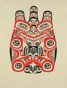 Bill Reid Haida Artist of mixed Haida/European descent This work is called Grizzly, silkscreen 1973 Haida Kunst, Arte Haida, Haida Art, Arte Tribal, Tribal Art, Native Canadian, Canadian Artists, Franz Marc, American Indian Art