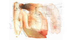 Watercolor illustration, woman and interior