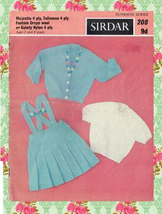 Items similar to Original Vintage Sirdar 208 Sunshine Series Pretty Baby Girl Knitting Pattern, Germanic Pinafore Dress Floral Embroidery Toddler RARE on Etsy Sirdar Knitting Patterns, Baby Knitting, Crochet Patterns, Woodland Elf, Baby Skirt, Retro Girls, Pinafore Dress, Children Clothing, Pretty Baby