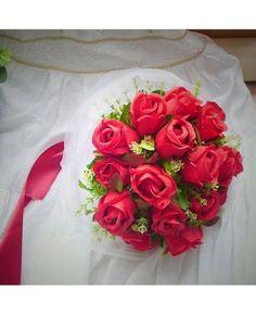 Classic Red Roses Bouquet de mariée artificiel