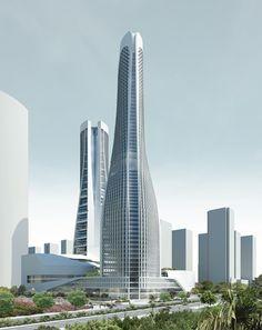 - Raffles City Towers, Hangzhou, China by UN Studio Architects :: 60 floors, height Futuristic Architecture, Historical Architecture, Beautiful Architecture, Architecture Design, Unusual Buildings, Amazing Buildings, Modern Buildings, Building Structure, Building Design