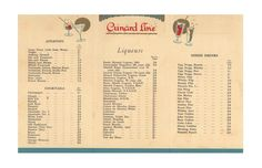 This elegant 1953 drinks menu with its fabulous graphics transports us back to the Golden Age of transatlantic travel by ocean liner. It is from the bar aboard The Queen Elizabeth which, together with