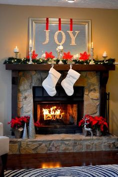 DIY Christmas Decorations for Home and for Inside! The Joy of Christmas Mantel | http://diyready.com/our-20-favorite-mantel-decorating-ideas-christmas-mantel-decor/