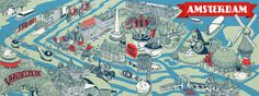 Illustrated Amsterdam, guide to Amsterdam, things to do, travel Europe, map