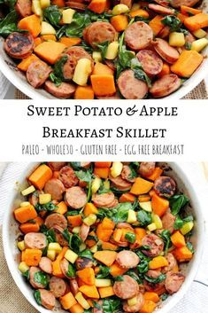 Sweet Potato and Apple Breakfast Skillet- Egg Free Fight breakfast boredom with this egg free sweet potato and apple skillet. – Sweet Potato and Apple Breakfast Skillet- Egg Free – The Bettered Blondie Breakfast And Brunch, Apple Breakfast, Whole 30 Breakfast, Sausage Breakfast, Healthy Breakfast Recipes, Brunch Recipes, Paleo Recipes, Whole Food Recipes, Breakfast Skillet