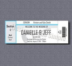 Concert Ticket Wedding Place Cards  by DesignsMadeSimple on Etsy, $20.00