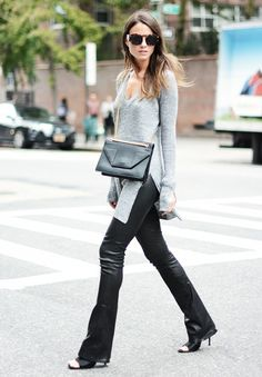 Flared leather pants with grey knit sweater. // #StreetStyle