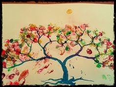 Finger tree painting Olivia aged 2 (with a little bit of help from mummy)