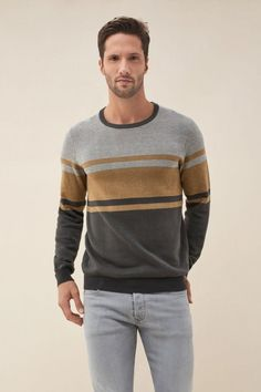 Striped sweater | Jerseys Salsa Jeans Cotton Sweater, Men Sweater, Napa Leather, Mannequin, Latest Fashion Trends, Jeans, Shirts, Long Sleeve, Sleeves