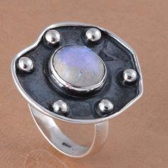 HOT SALL 925 SOLID STERLING SILVER RAINBOW MOOSNTONE RING 4.71g DJR2770 #Handmade #Ring