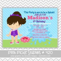 Pool Party Girl 4 Personalized Party Invitation-personalized invitation, photo card, photo invitation, digital, party invitation, birthday, shower, announcement, printable, print, diy,swim, swimming, summer