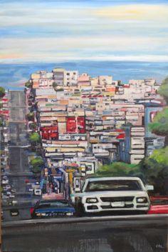 Abstract landscape painting: 'Drive SF', by Kim Ford Kitz. kimfordkitz.com