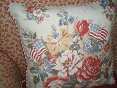 New Dylan's Grove Pillow Sham Cover Ralph Lauren Fabric Flags Roses Patriotic  #RalphLauren