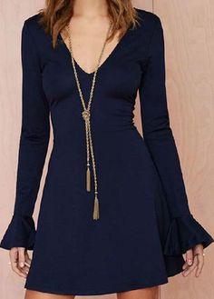 V Neck Black Open Back Dress | Rosewe.com