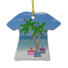Palm Tree Tropical Themed Christmas Ornaments.  Beach Ornaments make such a nice gift for those that love the beach. Beach Christmas Cards and Gifts. To view ALL of my Original Designs for Beach Christmas Cards, Ornaments and other Tropical Christmas  Cards and Gifts please CLICK HERE: http://www.zazzle.com/littlelindapinda/gifts?cg=196208599071599335&rf=238147997806552929*/