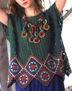 Thread Crochet, Crochet Shawl, Crochet Lace, Crochet Stitches, Crochet Patterns, Crochet African Flowers, Long Cardigan, Poncho Tops, Unique Crochet