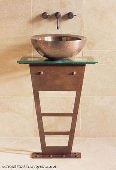 I-Beam Pedastal Sink w/ small copper basin Pedastal Sink, Pedestal, Bathroom Plans, Bathroom Stuff, Bathroom Ideas, Baths Interior, I Beam, Interior Design Magazine, Kitchen And Bath