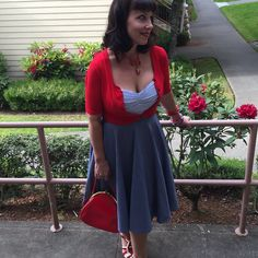 Shoobashooba shines in the Lena Blouse in Seersucker and the Circle Skirt in Chambray!