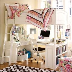 Stylish Room Ideas for Girls - space-saving room layouts and organizing ideas for girl's bedrooms.
